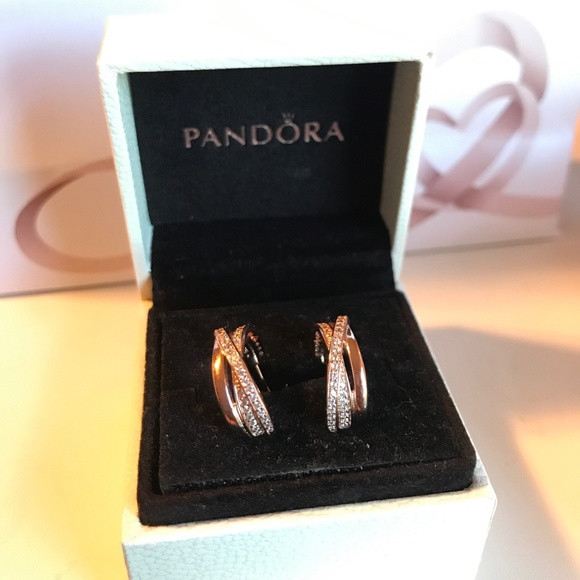 3a2a8dd3f9fd5 Pandora Entwined Hoop Rose Gold Earrings New Boutique